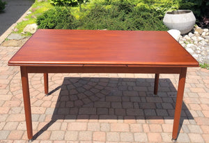 "REFINISHED MCM Teak Draw Leaf Table with 2 Extension Leaves, 54-95"" - Mid Century Modern Toronto"