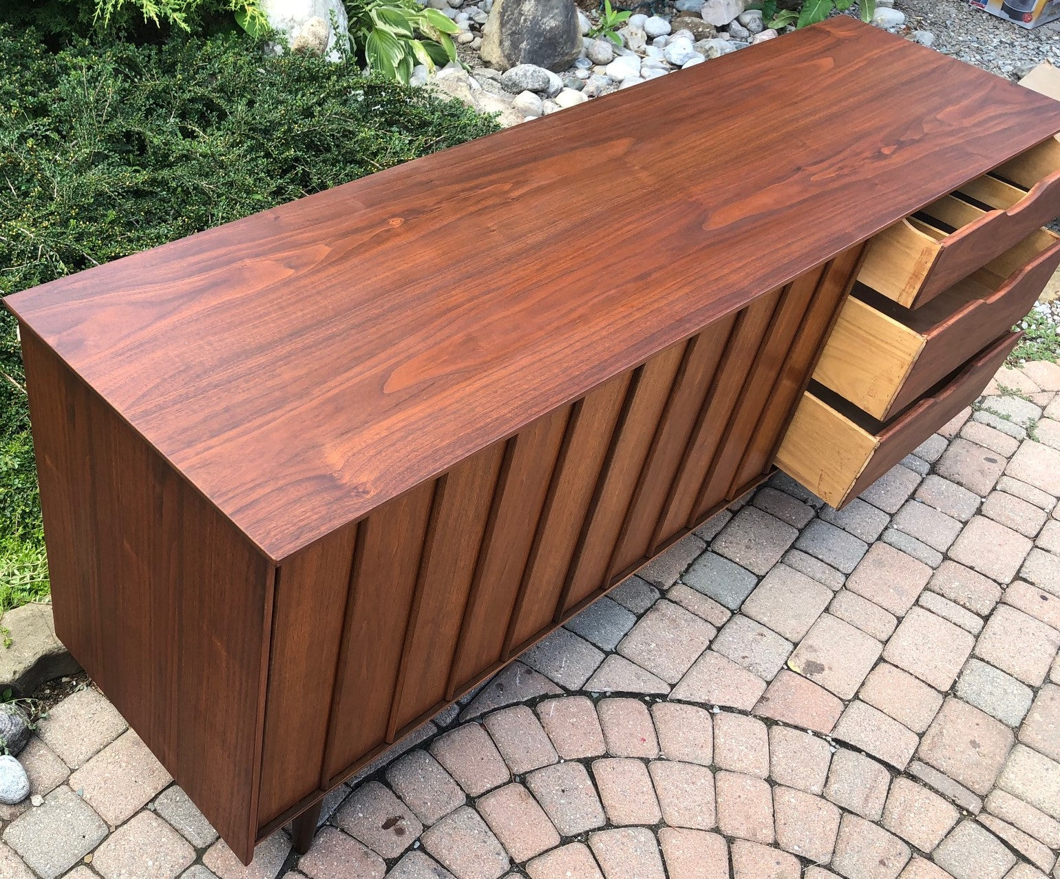 REFINISHED MCM SOLID Walnut Credenza Sideboard by ...