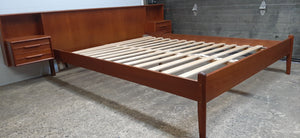 REFINISHED MCM Teak Platform Bed w floating nightstands Queen, PERFECT - Mid Century Modern Toronto