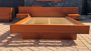 REFINISHED MCM Teak Dresser 9 Drawers AND Platform Bed w floating nightstands Queen, PERFECT - Mid Century Modern Toronto