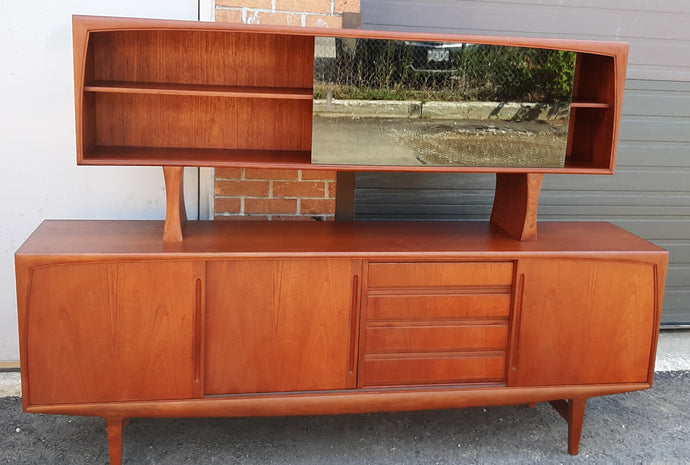 REFINISHED Danish MCM Teak Credenza Sideboard w a Topper Display Hutch, 84