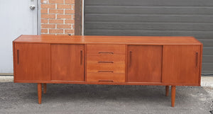 "REFINISHED MCM Teak Credenza Sideboard GIGANT by Nils Jonnson for TROEDS 87"" PERFECT - Mid Century Modern Toronto"