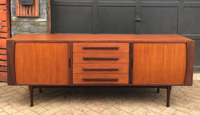 REFINISHED MCM Teak Sideboard with tambour doors and rosewood accents by RS Associates, perfect, 78