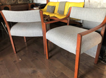 Load image into Gallery viewer, A Pair of REFINISHED REUPHOLSTERED low-slung Walnut Armchairs, each $399, like new - Mid Century Modern Toronto