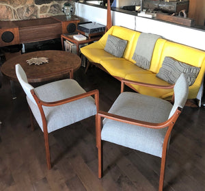 A Pair of REFINISHED REUPHOLSTERED low-slung Walnut Armchairs, each $399, like new - Mid Century Modern Toronto