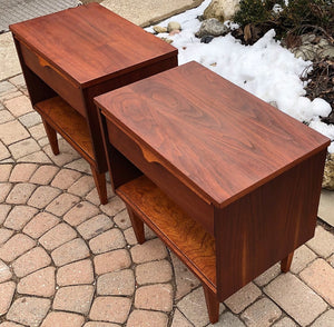 REFINISHED MCM Walnut Night Stands (2) - Mid Century Modern Toronto