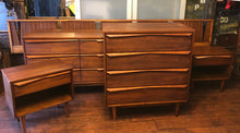 Load image into Gallery viewer, REFINISHED MCM Walnut long dresser, tallboy, 2 night stands & Queen/King headboard PERFECT - Mid Century Modern Toronto