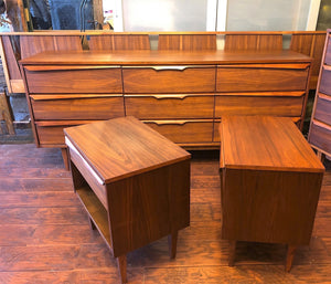 REFINISHED MCM Walnut long dresser, tallboy, 2 night stands & Queen/King headboard PERFECT - Mid Century Modern Toronto