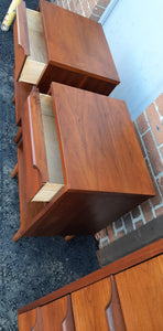 REFINISHED Compact MCM Walnut Bedroom Set: Dresser 9 Drawers, Tallboy, 2 Nightstands PERFECT - Mid Century Modern Toronto