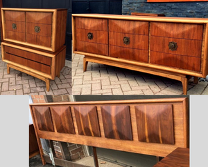 REFINISHED Sculptural MCM Walnut Bedroom Set V.Kagan style: Long Dresser, Tallboy, Headboard & Metal Queen or King bed frame, PERFECT