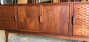 REFINISHED MCM Walnut Credenza with woven front PERFECT, 6ft - Mid Century Modern Toronto