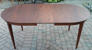 "REFINISHED MCM Walnut Table Extendable Oval w 3 leaves 60.5""- 95"" - Mid Century Modern Toronto"