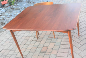 "REFINISHED MCM Walnut Dining Table Extendable w 2 leaves by Deilcraft, perfect, 47""-71"", optional custom glass - Mid Century Modern Toronto"