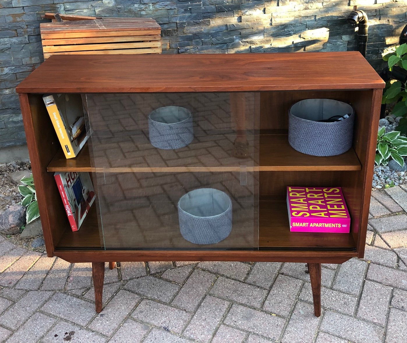Refinished Mcm Walnut Display Bookcase China Cabinet With Glass Doors 41 Perfect
