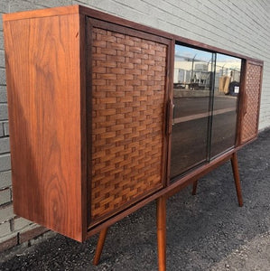 "REFINISHED MCM Walnut Display w woven & glass doors 71"" long & narrow, PERFECT - Mid Century Modern Toronto"