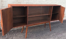 "Load image into Gallery viewer, REFINISHED MCM Walnut Display w woven & glass doors 71"" long & narrow, PERFECT - Mid Century Modern Toronto"
