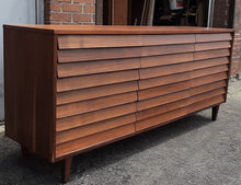 "Load image into Gallery viewer, REFINISHED MCM  Walnut Dresser 9 Drawers louvered front 74.5"", PERFECT - Mid Century Modern Toronto"