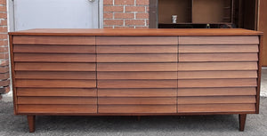 "REFINISHED MCM  Walnut Dresser 9 Drawers louvered front 74.5"", PERFECT - Mid Century Modern Toronto"