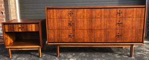 REFINISHED MCM Walnut Dresser 6 Drawers & Nightstand with rosewood inlay, perfect - Mid Century Modern Toronto