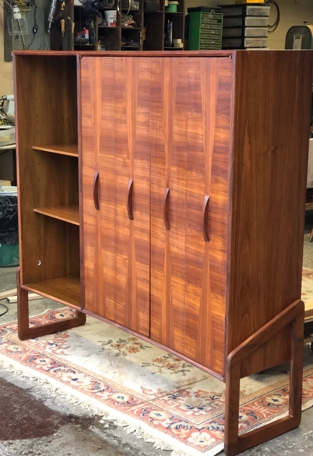 REFINISHED Unique Mid Century Modern Walnut Inlay Cabinet w Display  56