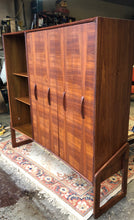 "Load image into Gallery viewer, REFINISHED Unique Mid Century Modern Walnut Inlay Cabinet w Display  56"", perfect - Mid Century Modern Toronto"