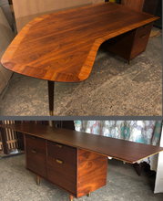 "Load image into Gallery viewer, REFINISHED Large MCM Walnut Office Suite PERFECT (Desk Boomerang Shape & Office Console 83""/96"") - Mid Century Modern Toronto"