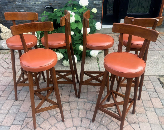 6 MCM Teak Bar Stools in great condition, each $99 - Mid Century Modern Toronto