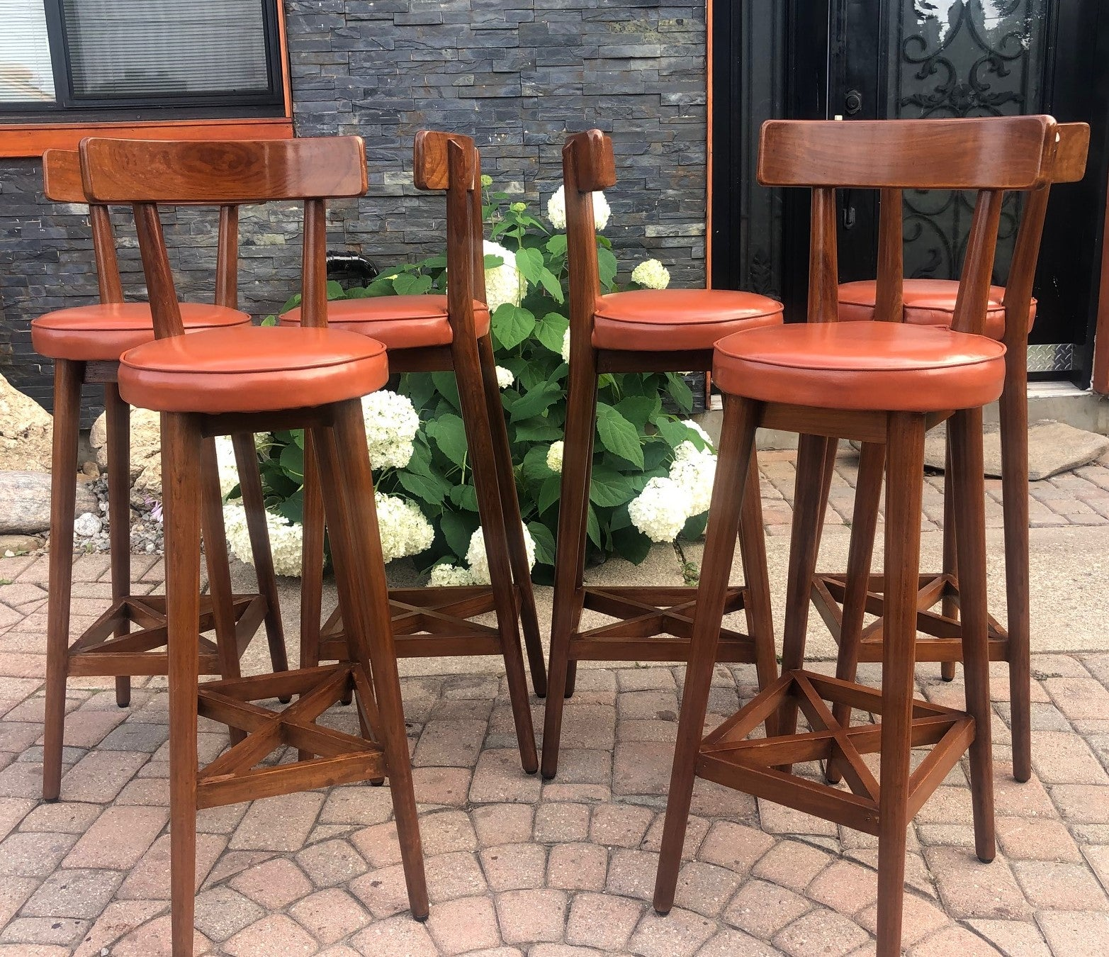 6 Mcm Teak Bar Stools In Great Condition Each 99 Mid