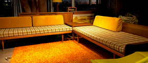 SOLD- REFINISHED REUPHOLSTERED Walnut MCM 2 pc sofa or daybed set or sectional (includes new custom upholstery) - Mid Century Modern Toronto