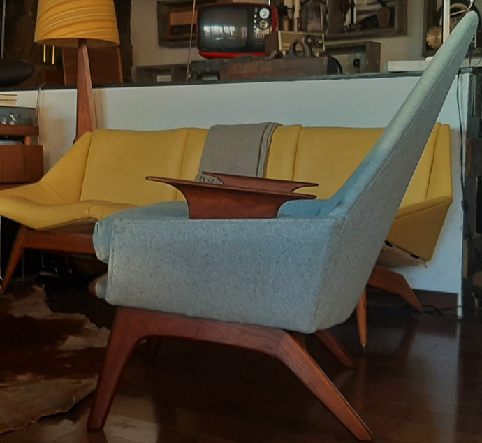 REFINISHED REUPHOLSTERED Adrian Pearsall style Lounge Chair in walnut & blue wool, perfect - Mid Century Modern Toronto