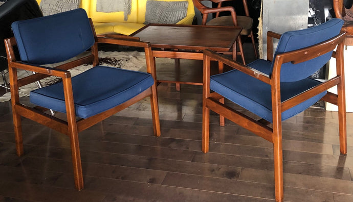 Pair of MCM Sculpted Walnut Armchairs by Jens Risom  (1 pair only available) - Mid Century Modern Toronto