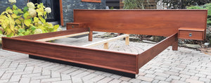REFINISHED MCM Teak platform bed King size with floating night stands, PERFECT - Mid Century Modern Toronto