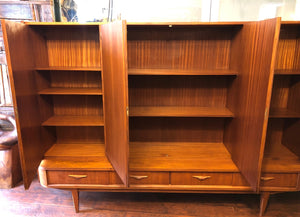 "REFINISHED MCM Teak Highboard Tall Cabinet 87.5"", rare, perfect, treated for durability - Mid Century Modern Toronto"