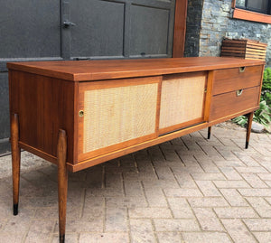 "REFINISHED MCM Walnut Media Console or Buffet with reversible doors 72"", almost perfect - Mid Century Modern Toronto"