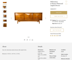 REFINISHED MCM Walnut 9 Drawer Dresser or Credenza V.Kagan style, PERFECT
