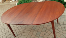 "Load image into Gallery viewer, REFINISHED Danish MCM Teak Dining Table Round to Oval w 1 leaf PERFECT 43"" - 64.5"", treated for durability"