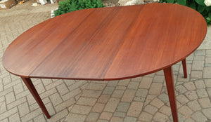 "REFINISHED Danish MCM Teak Dining Table Round to Oval w 1 leaf PERFECT 43"" - 64.5"", treated for durability"