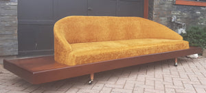 MCM Cloud Platform Sofa in Walnut & Mohair attributed to Adrian Pearsall 121""