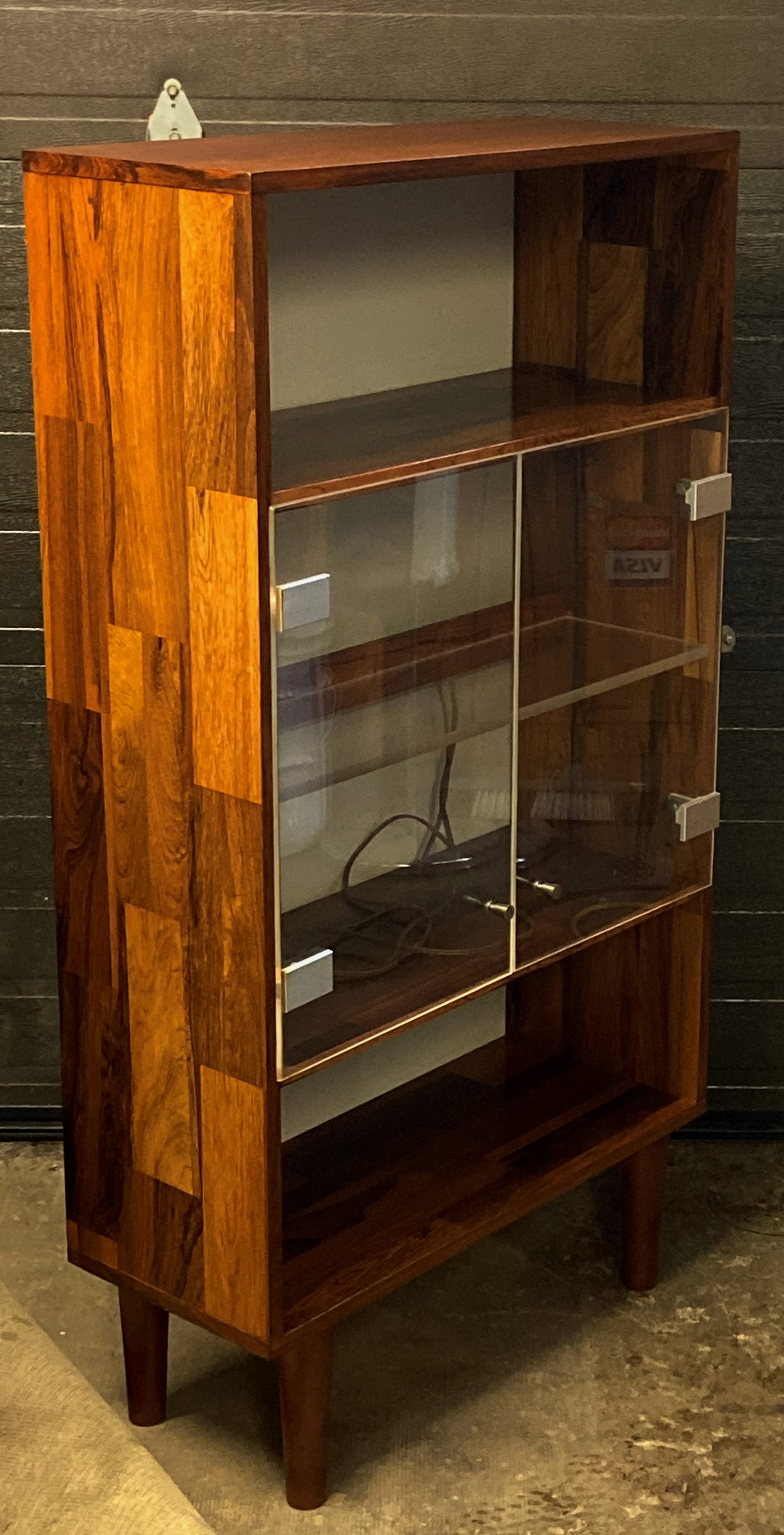 REFINISHED MCM Rosewood Patchwork Display Cabinet  Bookcase 28