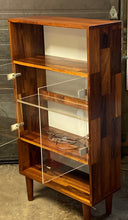 "Load image into Gallery viewer, REFINISHED MCM Rosewood Patchwork Display Cabinet  Bookcase 28"" with lighting, perfect"