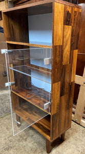 "REFINISHED MCM Rosewood Patchwork Display Cabinet  Bookcase 28"" with lighting, perfect"