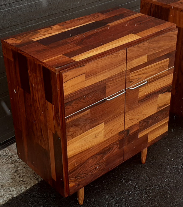 REFINISHED MCM Rosewood Patchwork Cabinet with 2 doors 28