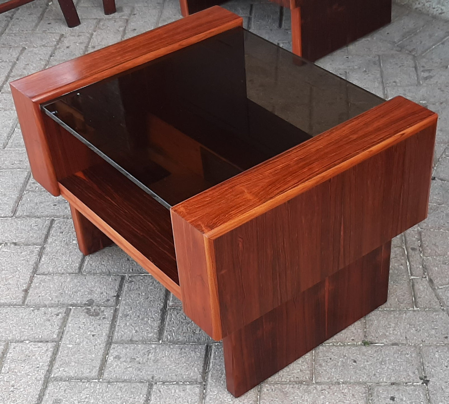 RESTORED MCM Rosewood Accent Table with tinted glass top