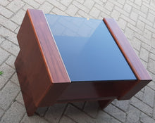 Load image into Gallery viewer, RESTORED MCM Rosewood Accent Table with tinted glass top