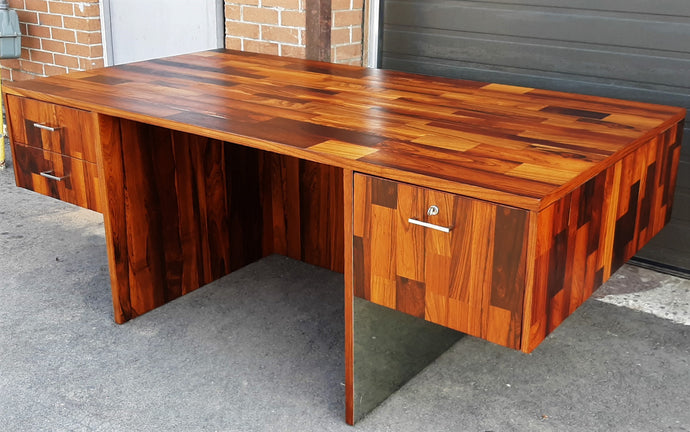 REFINISHED MCM rosewood & stainless steel desk with finished back Milo Baughman style, perfect