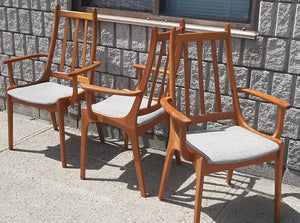 Set of 2 MCM Teak high-back armchairs RESTORED