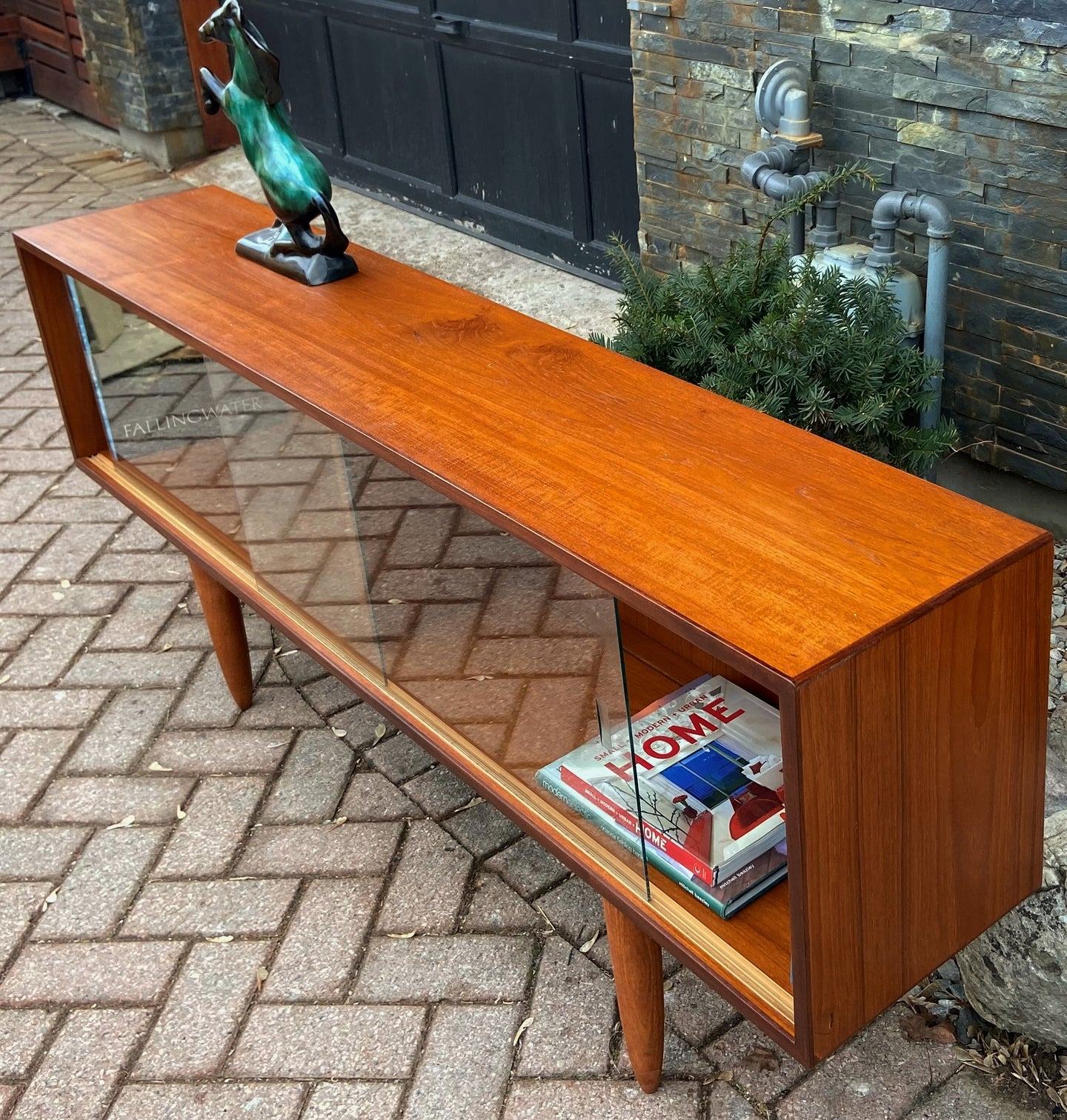 REFINISHED Danish MCM Teak Bookcase Display Media Console 64.5