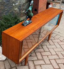 "Load image into Gallery viewer, REFINISHED Danish MCM Teak Bookcase Display Media Console 64.5"", Perfect"
