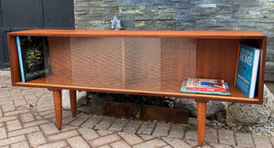 "REFINISHED Danish MCM Teak Bookcase Display Media Console 64.5"", Perfect"