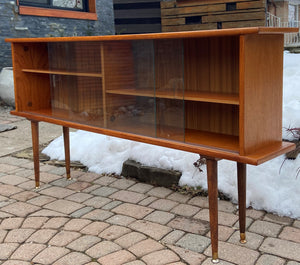 "REFINISHED MCM Teak Display Bookcase 59"" PERFECT, narrow"